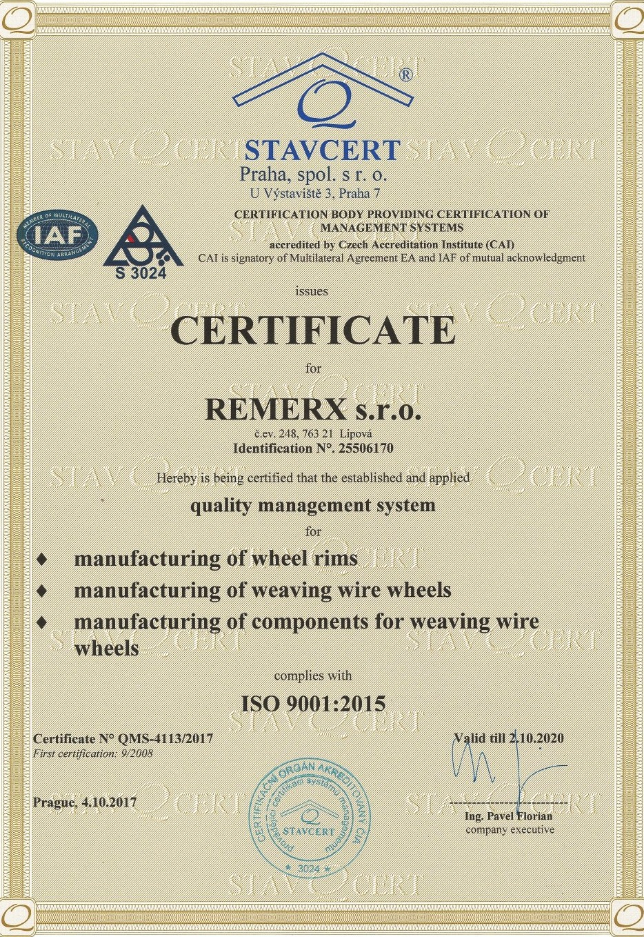 Rim and wheelset Remerx - CERTIFICATION